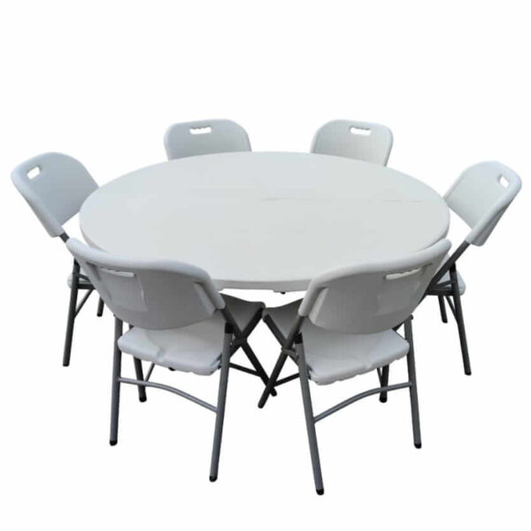 5ft Round table & 6 chairs