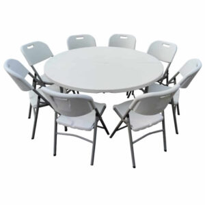5ft Round table & 8 chairs