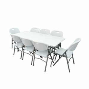 White 6ft Table & 8 Chairs