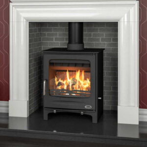 A Henley Sherwood sitting on a wooden mantel in a brick effect fireplace