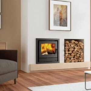 Henley Faro 600 insert Stove in a four sided frame beside wooden logs